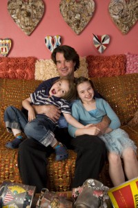 Rob Wilder at home in Santa Fe, NM with his children Poppy, 9, and London, 4.